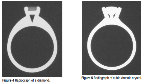 One Of The Common Diamond Replacements Is Cubic Zirconia Which Contains Zirconium Z 40 And Therefore Shows Up Much More Strongly