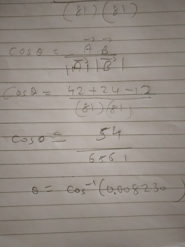 What Is The Angle Between Two Vectors (6i^+6j^-3k^) And