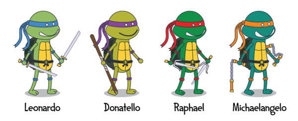 what are the names of the teenage mutant ninja turtles what color