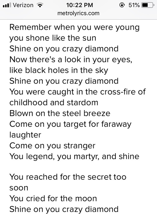 What do the lyrics to Pink Floyd\'s \'Shine On You Crazy Diamond\' mean ...
