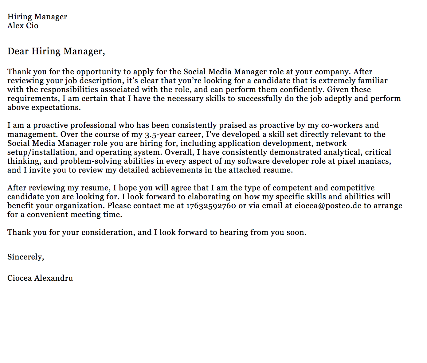 Screenshot Of A Sample Career Change Cover Letter Cover Letter For