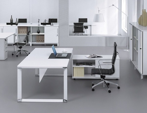 500 Series 2 Pc Executive Desk And Cabinet Set White Lacquer