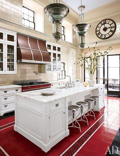 kitchen floor tiles with white cabinets. White Cabinetry Is So Chic And Looks Great With This Flooring. No Matter The Shade Of Red, Always A Safe Option. Isn\u0027t For Everyone Though, Kitchen Floor Tiles Cabinets