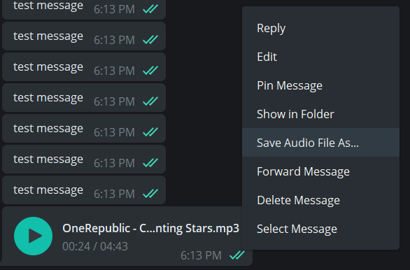 How to save an audio file from Telegram Messenger to the