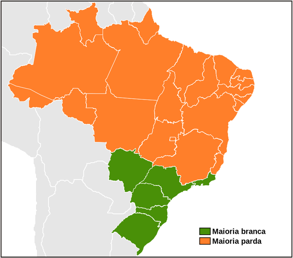What States In Brazil Have A White Majority Quora - Whitest Plaaes In Us Map