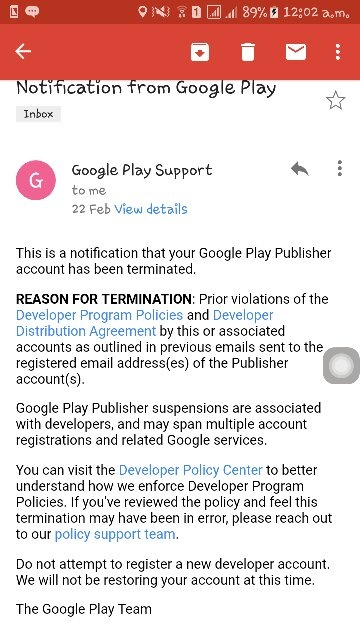 Does Google Disable My Play Store Developer Account If My Lost Apps