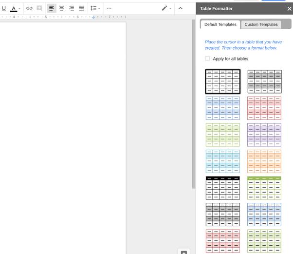Do Google Docs Tables Have Something Similar To The Google Sheets - Google docs table template