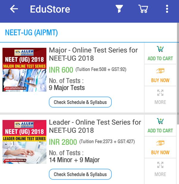 allen test series login