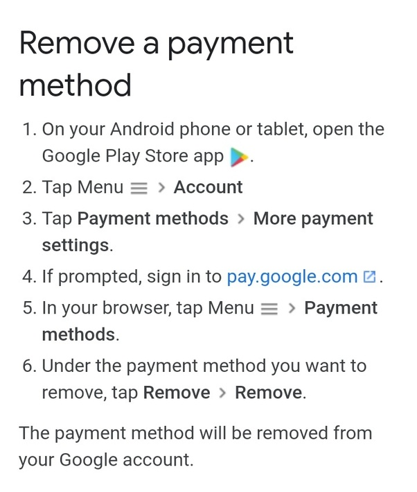 How to remove my debit card from Google Play Store - Quora