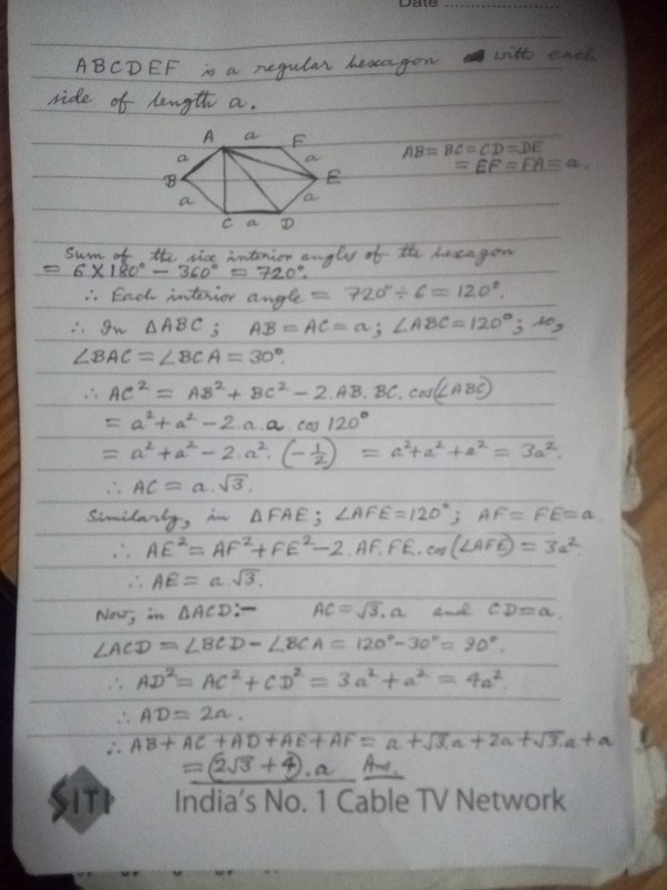 ABCDEF is a regular hexagon  What is the value of avector AB