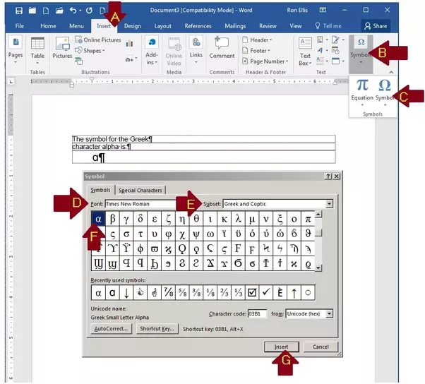 How To Insert The Alpha Symbol In Microsoft Word Quora