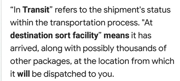 What does 'in transit, at destination sort facility' mean for FedEx