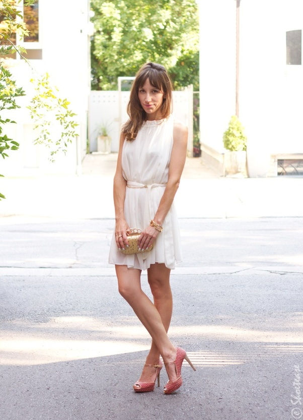 eb86c5c1136f What shoe color goes best with a white dress  - Quora