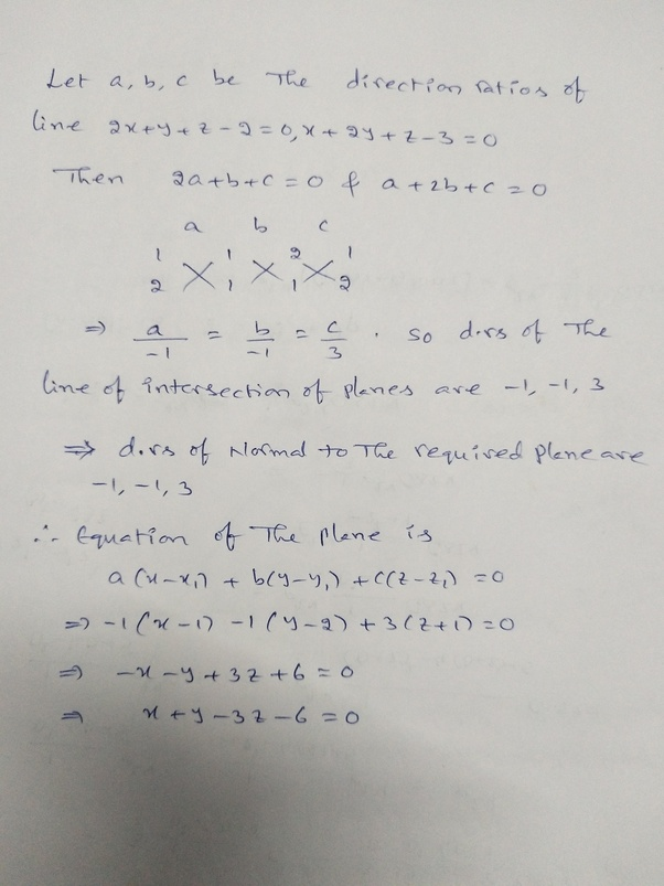 A Plane Is Through The Points 12 1 And Is Perpendicular To The