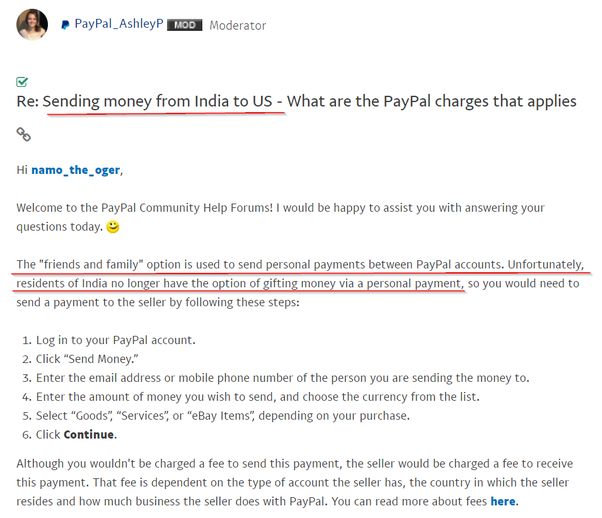 India To My Friend In Usa Using Paypal