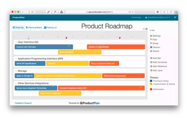 just drag and drop bars onto your roadmap here are a few screen shots of our product
