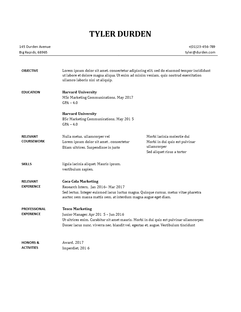are there any free resume templates quora