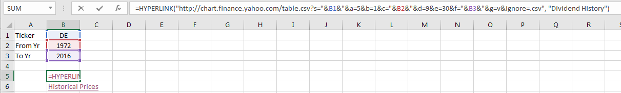 Is there a an Excel function to get information about equity