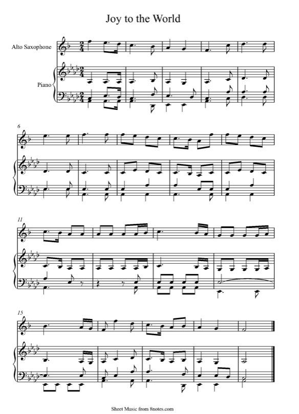 heres some fairly easy sheet music for alto sax - Free Christmas Sheet Music