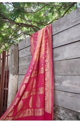 2c543dd8da Buy online Green and Red Bandhani Pure Gajji Silk Saree
