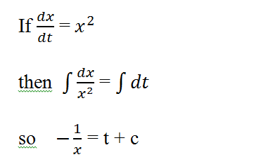 What is the solution of the differential equation dx/dt = x