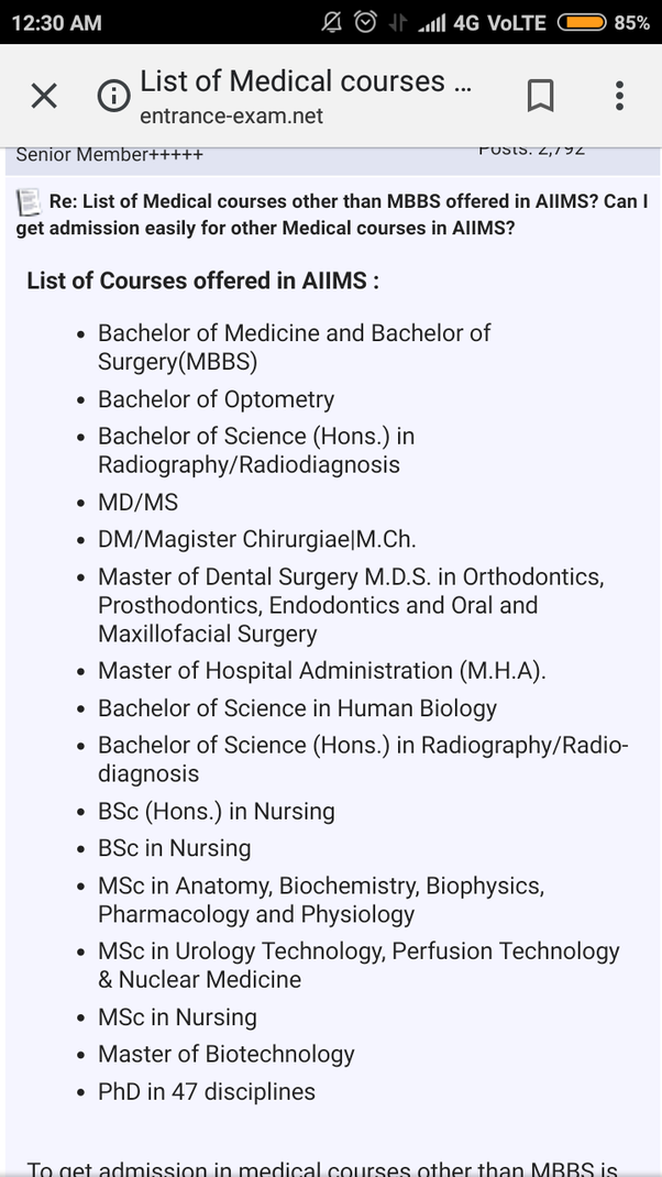 Is there other medical courses available in AIIMS other than