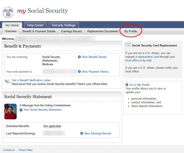Should a change of address be notified to the social security office now that you are on the home page you just need to find and click on my profile tab in the top right altavistaventures Image collections