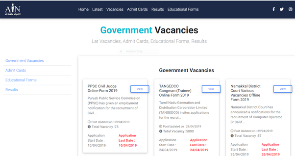 Which is the best site to know about government jobs vacancies in