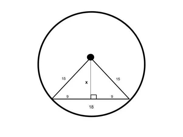A Chord Is 18 Cm Long The Radius Of The Circle Is 15 Cm What Is