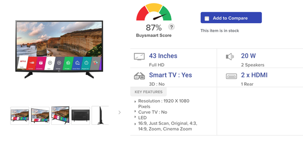 Which is best led smart TV in 43''? - Quora