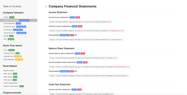 Is there a free API for financial statement information for