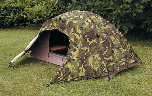 The Marine Corps experimented with some 2-man tents like this but the number I have seen for sale at surplus sites makes me think they were phased out ... & What tents are used by the military? - Quora