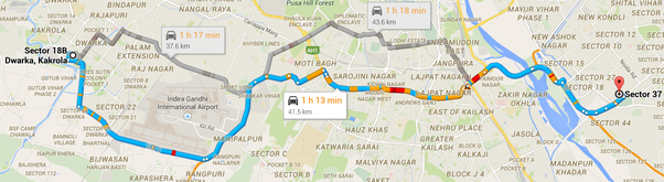 How long does it take to reach Noida from Dwarka (Sector 18), New ...