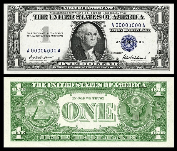 What Is The Value Of An 1957 One Dollar Bill With Blue