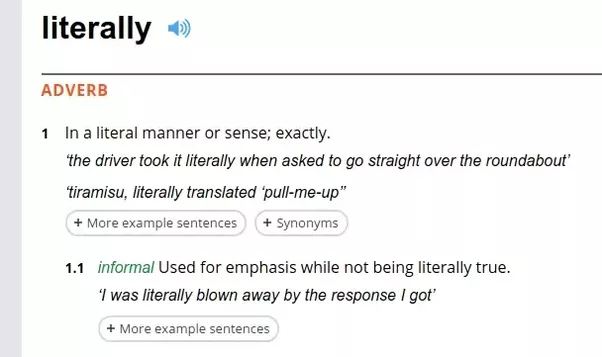 the literal or dictionary meaning of a word is