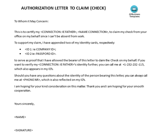 How to write a sample for an authorization letter to claim a check if you want some good authorization letter to claim a check check out this one free authorization letter claiming a check expocarfo Gallery