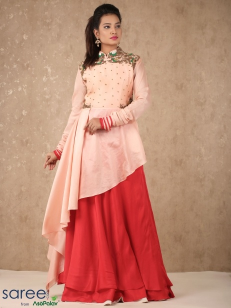 66ba4bd938e A peach cotton or silk kurta paired with a red Patiala would look great for  casual to semi-formal occasions as well as everyday wear.