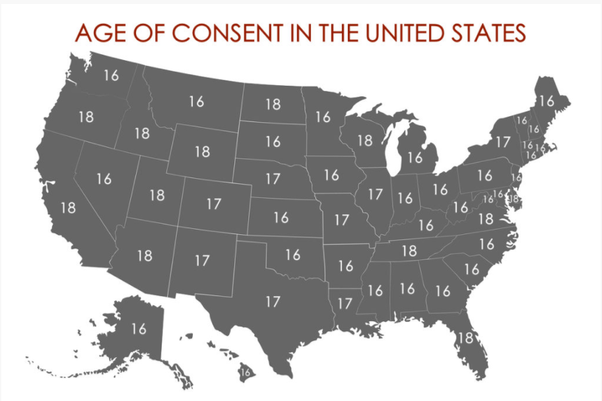 Legal sexual consent ages by states