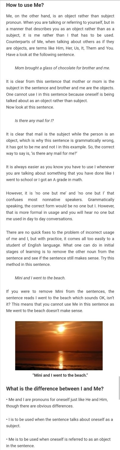 What's the difference between 'I' and 'me'? - Quora