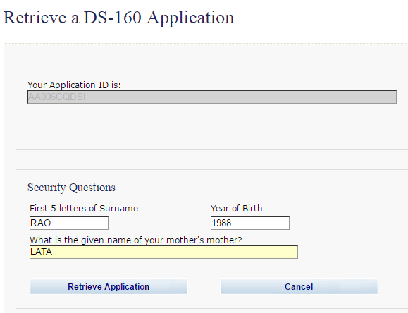 How To Retrieve The Ds160 Form If Surname Is Less Than 5 Letters Quora