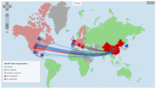 Does china follow the wto rules quora since joining in 2001 china has been named as a respondent in 39 cases the wto website provides a friendly mapping tool to show the countries with whom gumiabroncs Images