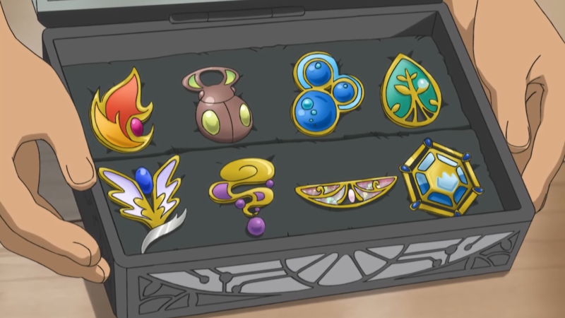 Here Are Pictures Of Barry S Badges From The Sinnoh Region And Sawyer Kalos Both Show Gym Leaders That Not Present