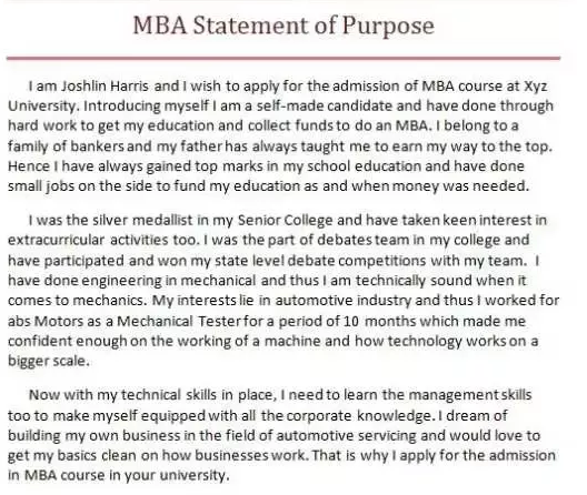 Mba Letter Of Intent Examples