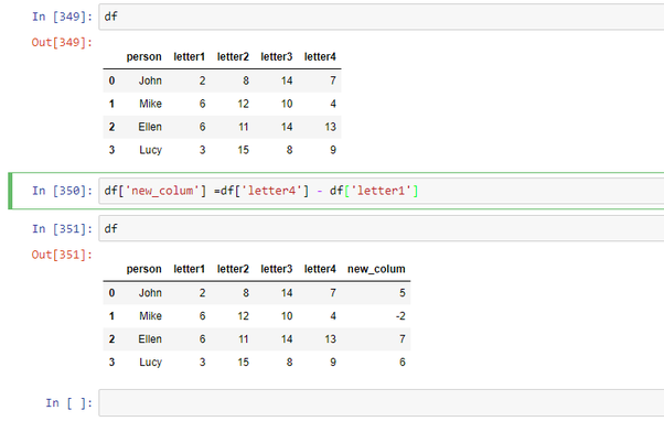 How to add or subtract two columns and put the results in a new column in a Pandas  Dataframe - Quora