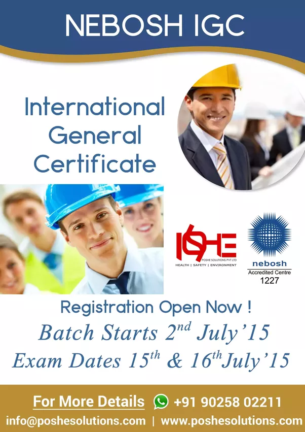 Poshe Conducts Nebosh IGC Course In Chennai With Expert And Highly Qualified NEBOSH Tutors Is Most Widely Admired Safety By Employers