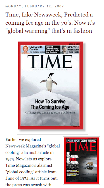 Here We See How A Denier Blog Uses This Fake Time Cover To Give The Impression That Researchers Have Predicted Ice Age In 70s And Warming 30 Years