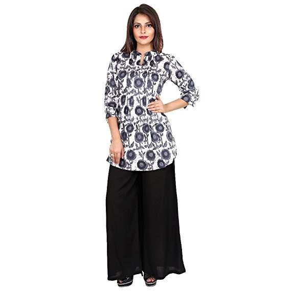 3a5ab2d6d9 ... Kurtis over black palazzo pants. A short one is also a good option.  Shirt type Kurtis is also looking good. I have shared some pictures below  then you ...