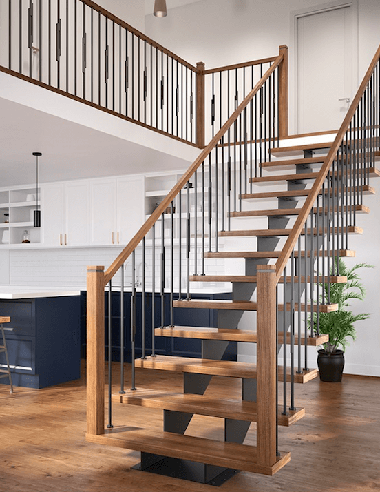 What is a stringer beam in the case of stairs spanning