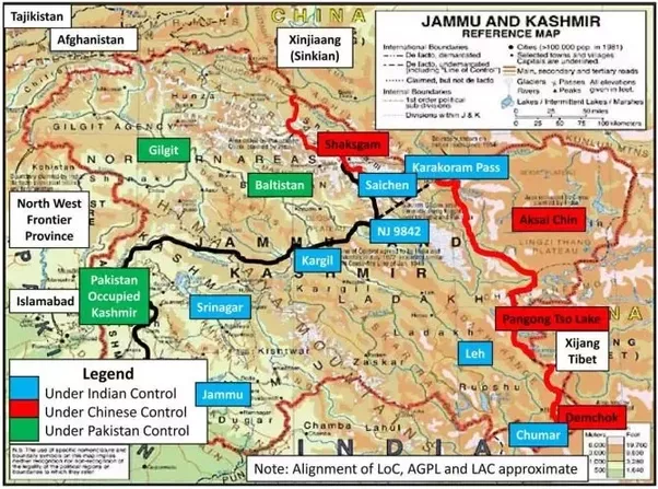 So the whole of kashmir what we usually see in the indian map territory aksai chin shaksgam valleytrans karakoram tract illegally ceded to prc by pakistan in 1963 through sino pakistan frontier agreement platinumwayz
