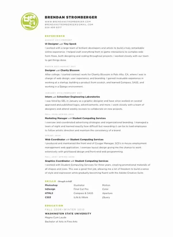 how should a ux  ui cv look